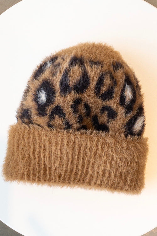 Oui Faux-Fur Hat Camel Brown Animal Print