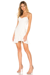 V-Neck with Side Ruffle White Cocktail Dress. Robe blanche à volants