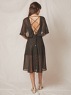 ALLEN SCHWARTZ Capelet Dress with Gold Specs