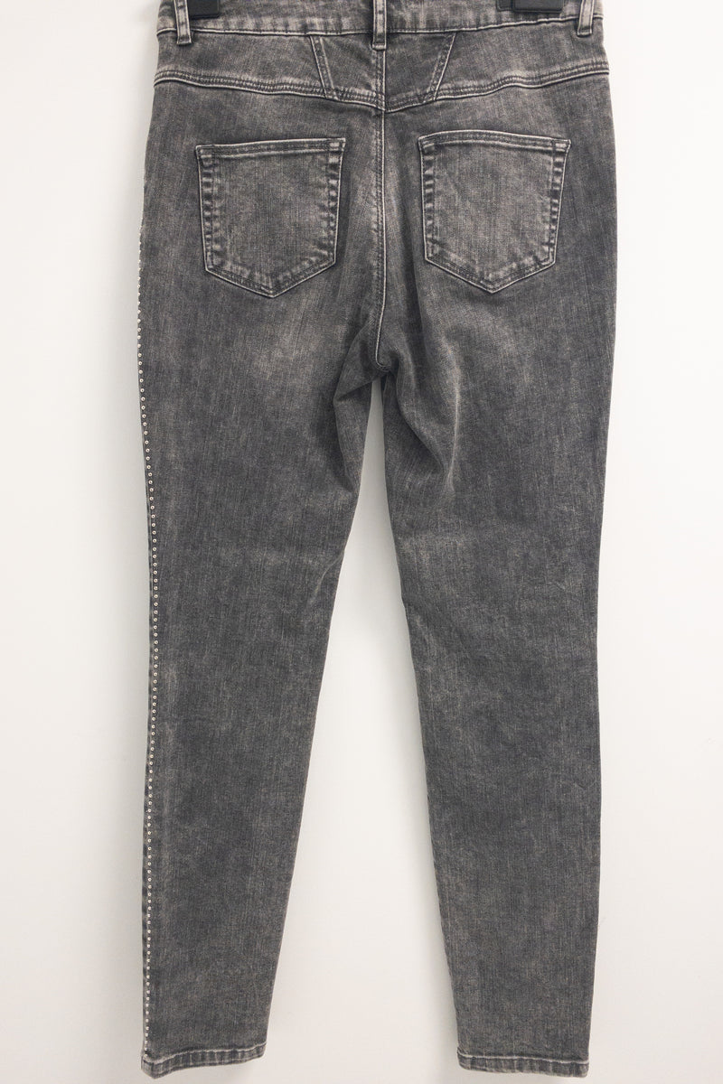 Oui Black distressed Jeans Denim with metal studs