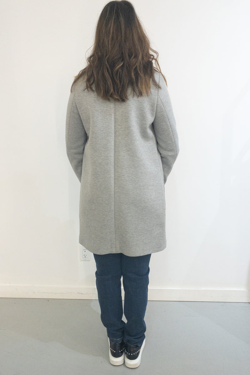 SET Single Breasted Midi Light Coat Gray