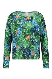 Penn & Ink Long Sleeve Printed Top Green.