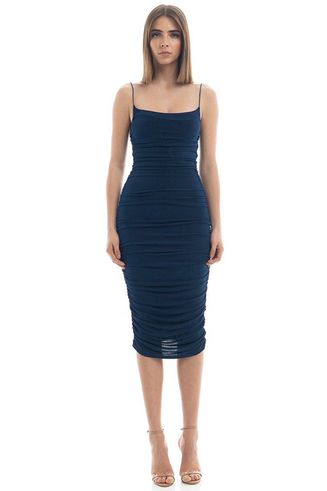 Robe de cocktail mi-longue froncée bleu Misha Collection