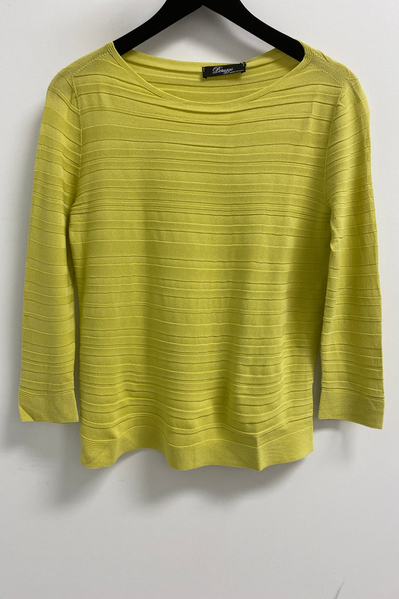Peruzzi Self Striped Knit Long Sleeve Top Lime