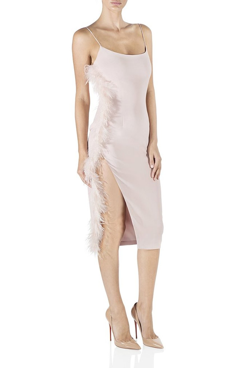 MISHA COLLECTION Midi Dress with Ostrich Feather