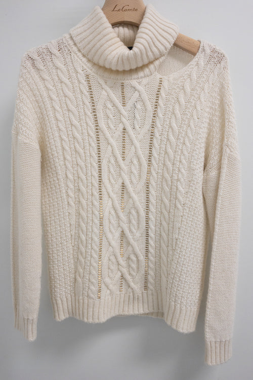 Liu Jo Side Cut Out Turtle Neck Alpaca Wool Sweater