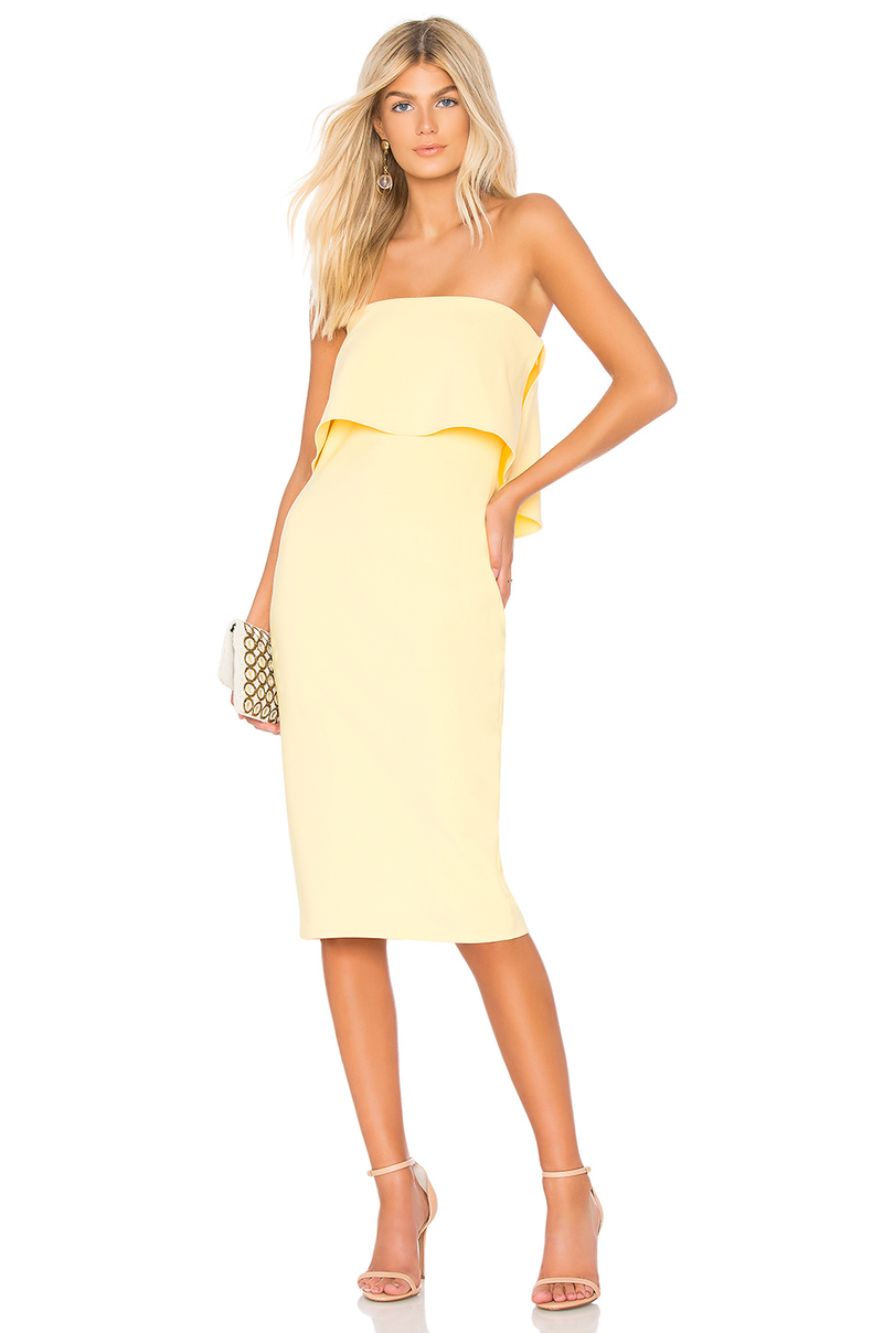 Driggs Strapless Cocktail Dress Yellow. Robe cocktail yellow