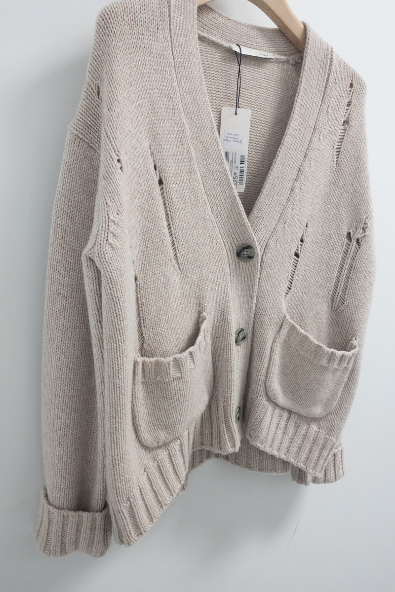Oui Distressed Cardigan in Wool Modal Mix