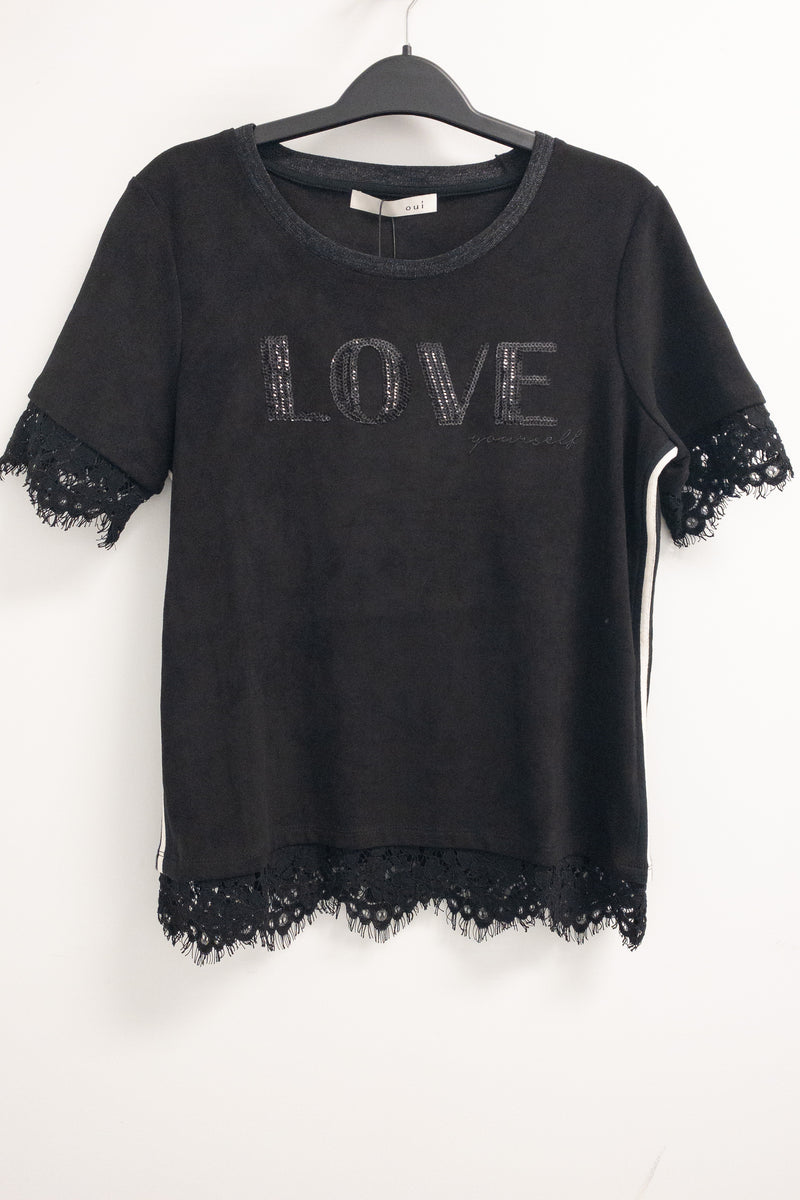 Oui Black Label Top with Lace Inserts LOVE YOURSELF