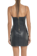 Black leather dress mini robe noire
