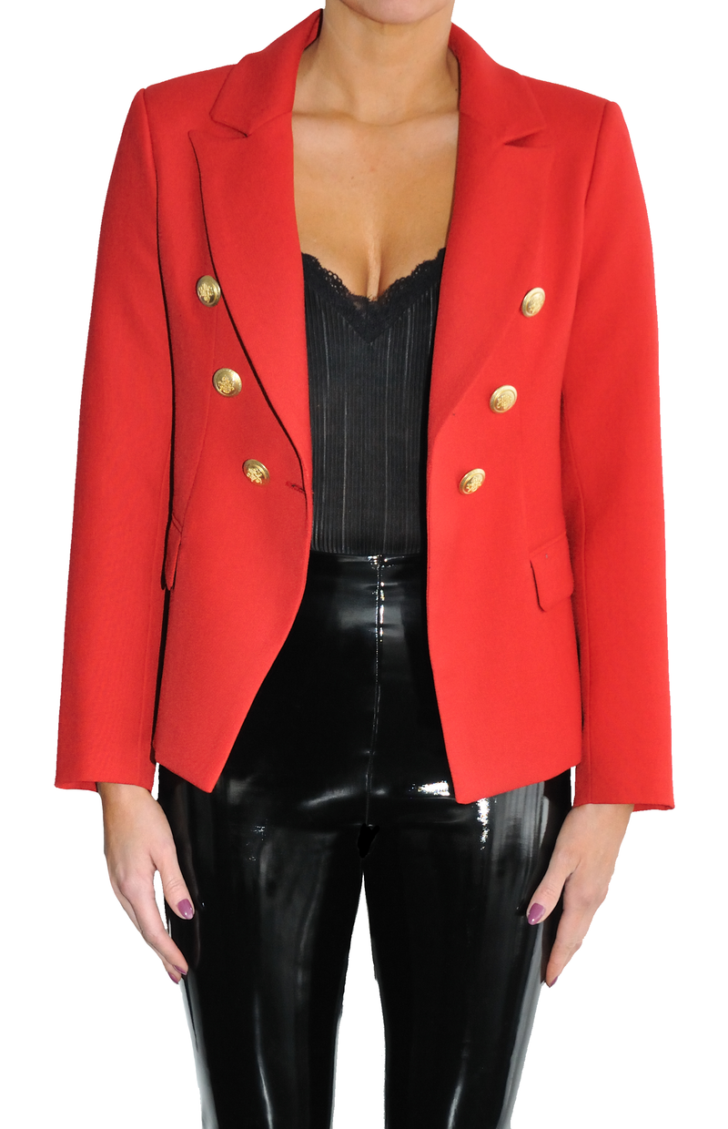 LOA LABEL Red Blazer with Gold Buttons. Veste rouge à boutons dorés