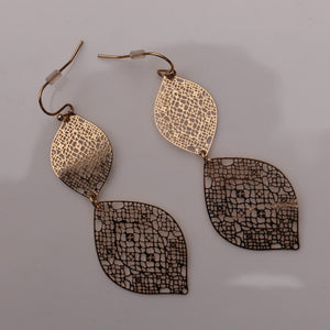 Gold Double Leaf Earrings