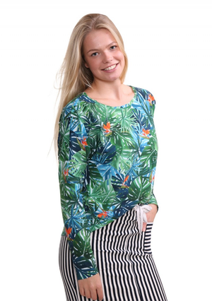 Top vert à manches longues Penn & Ink Long Sleeve Printed Top Green.