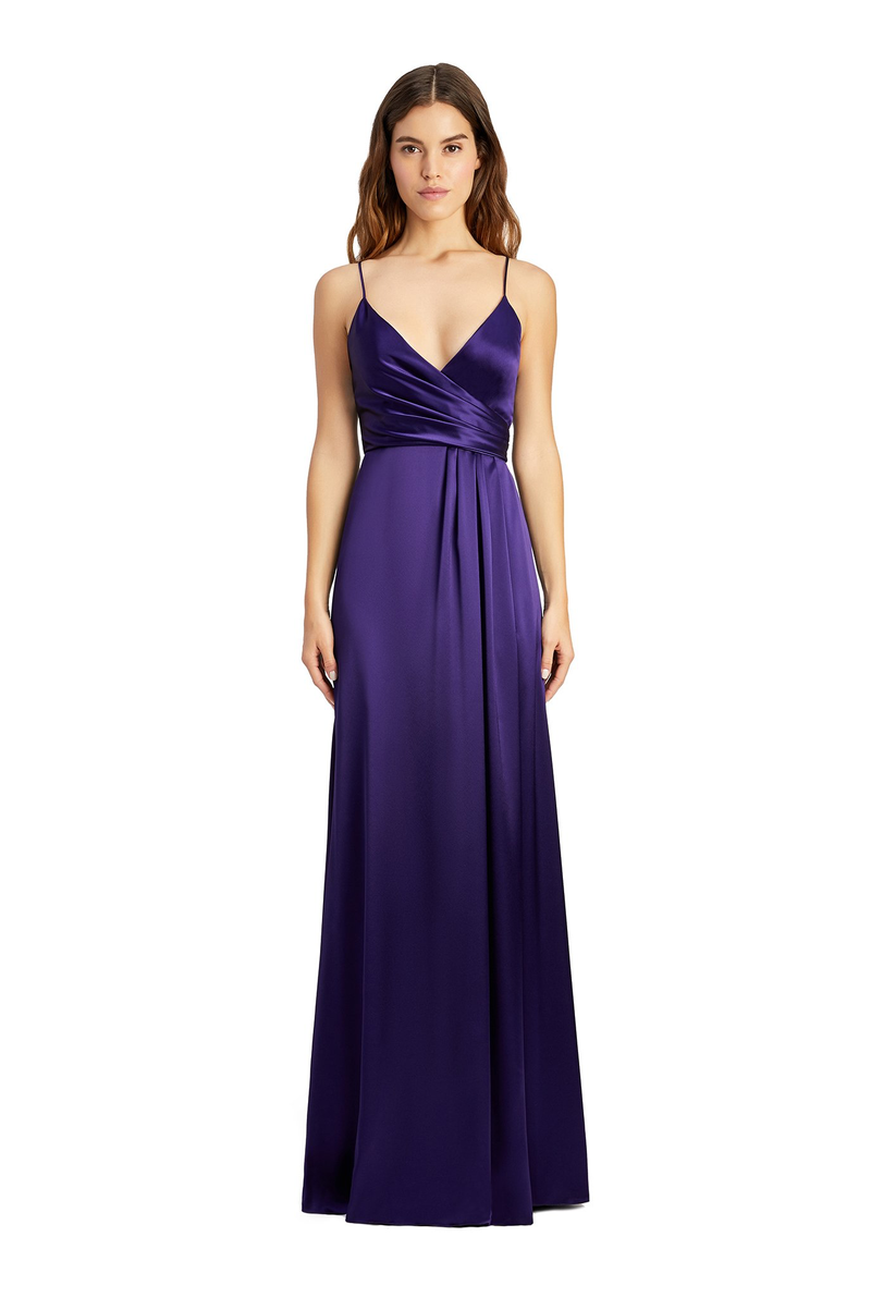JILL JILL STUART Thandie Satin V-Neck Side Slit Purple Indigo Gown