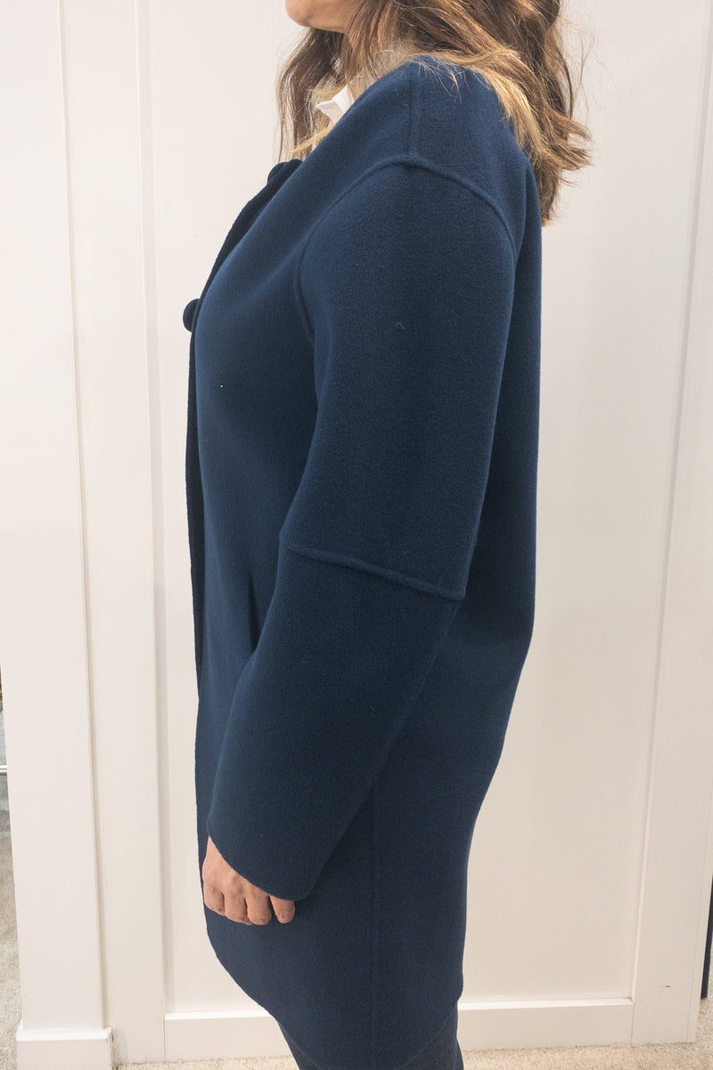 Riani Cashmere Blend Round Collar Single Breasted Coat Navy