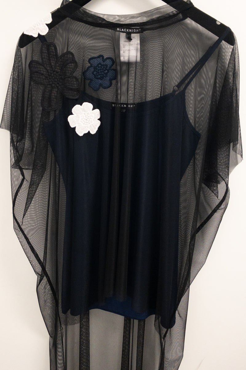 Blacknight Mesh Top with Flower Embroidery and Underslip