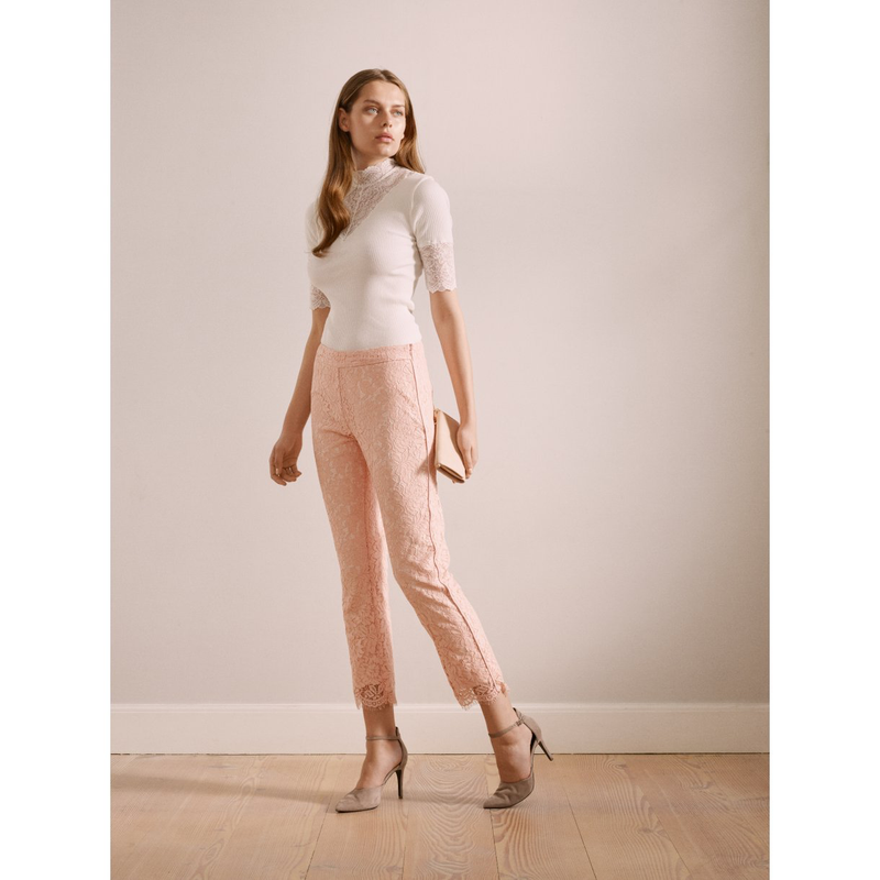 Lace Pants with piping- Pink. Pantalon en dentelle rose
