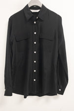 Max Volmary Black Silk Shirt with White Buttons