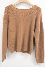 SET Crew Neck Wool Cotton Knitted Sweater Toffee