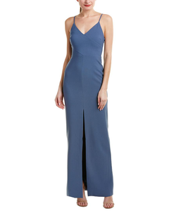 LIKELY Front Slit Fitted Gown with thin straps. Robe de soirée adjustée bleu
