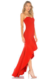 LIKELY Red High Low Gown. Robe longue rouge