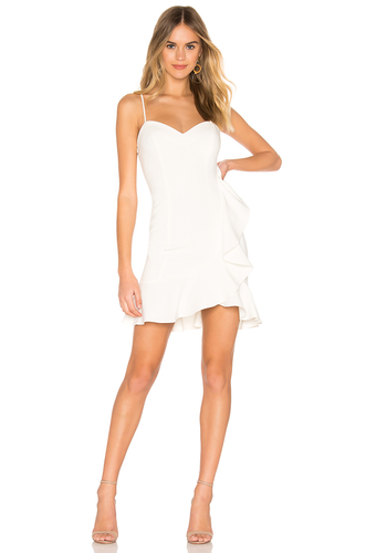 LIKELY V-Neck with Side Ruffle White Cocktail Dress. Robe blanche à volants
