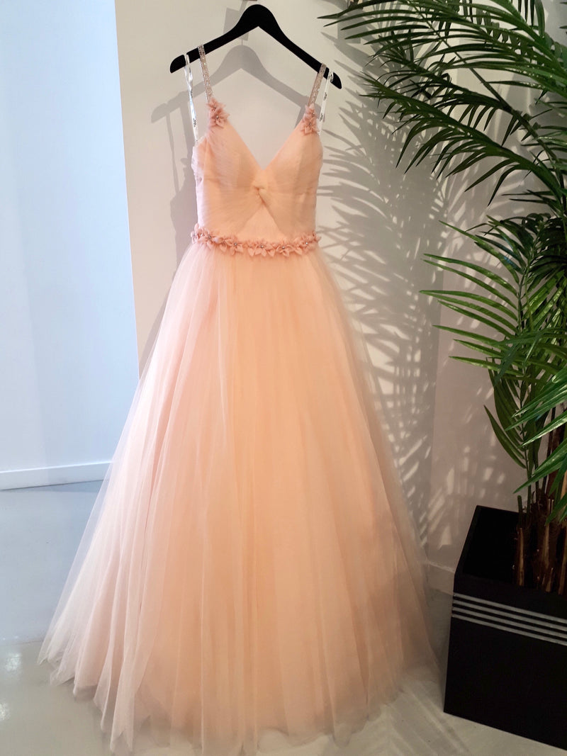 Terani Beaded Rouched Bodice Tulle Gown Floral Details