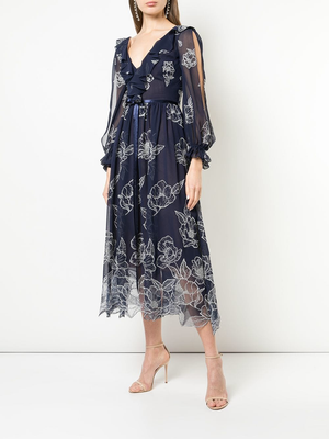 MARCHESA NOTTE V-Neck Ruffle Embroidered Dress