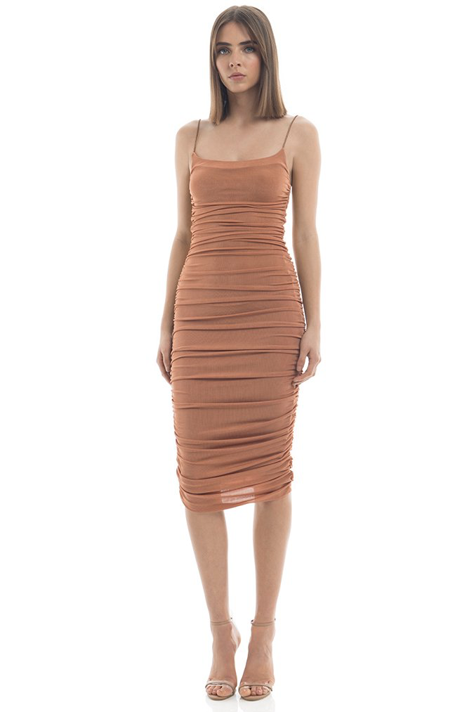 MISHA Shirring Midi Dress Bronze. Robe mi-longue froncée