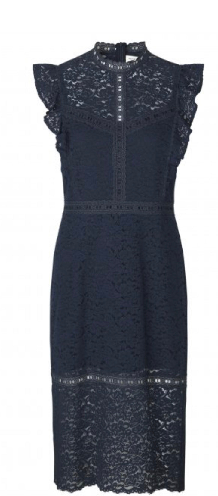 Lace Dress with High Neck Shoulder Detail