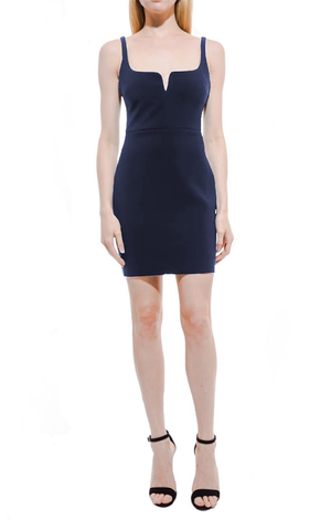 Constance Mini Dress Navy. Mini robe en blue marine