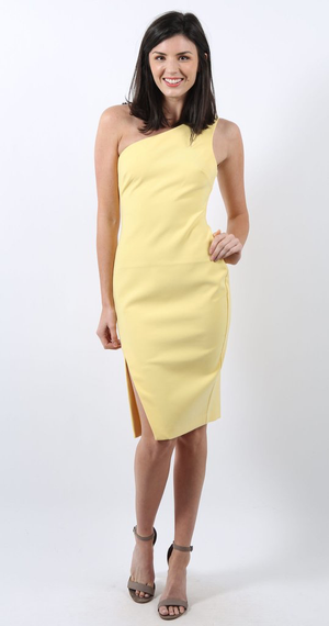 LIKELY One Shoulder Shift Dress Yellow. Robe jaune mono-épaule