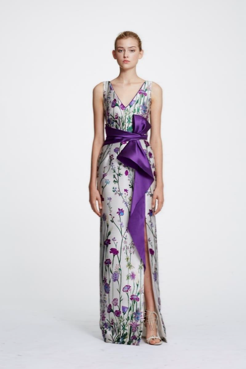MARCHESA NOTTE V-Neck Printed Gown with Ruffle Robe de soirée