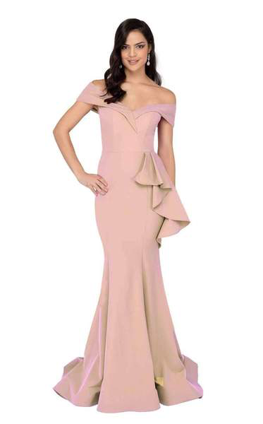 TERANI Off Shoulder Prom Evening Gown Blush. Robe de Bal