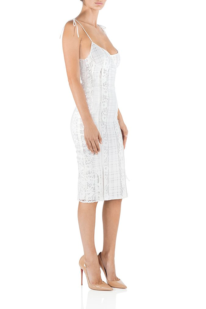 White Lace Midi Cocktail Dress Fitted MISHA COLLECTION