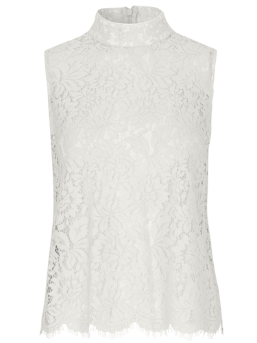 Sleeveless Mock Neck Lace Top. Haut en dentelle sans manches