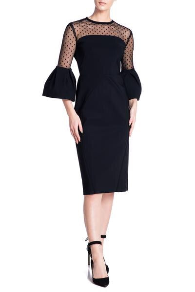 Greta Constantine Laurent Dress with Polka Dot Tulle. Robe noire