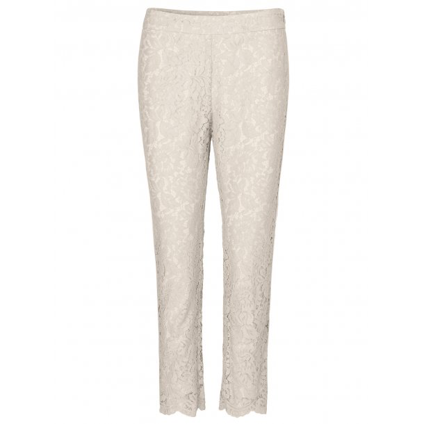 Lace Pants with piping- Ivory. Pantalon en dentelle ivore