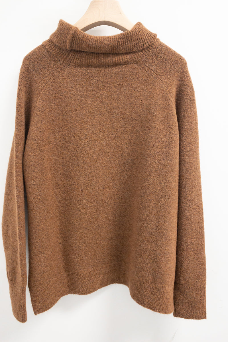 SET Oversized Turtle Neck Wool Mix Sweater Brown