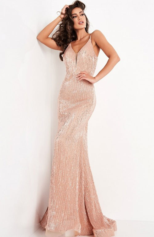 JVN Deep V Open Crisscross Back Sequin Gown Robe à Paillettes