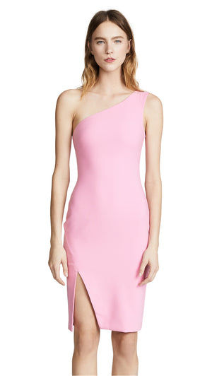 One Shoulder Shift Dress Baby Pink. Robe rose mono-épaule