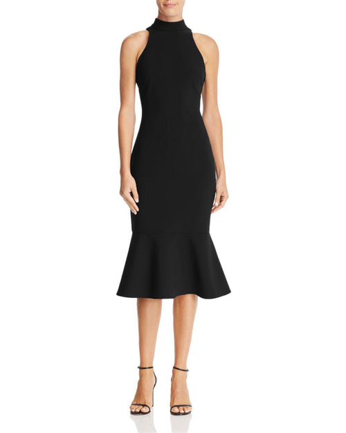 LIKELY Black Halter Dress with Ruffle. Robe sans manches