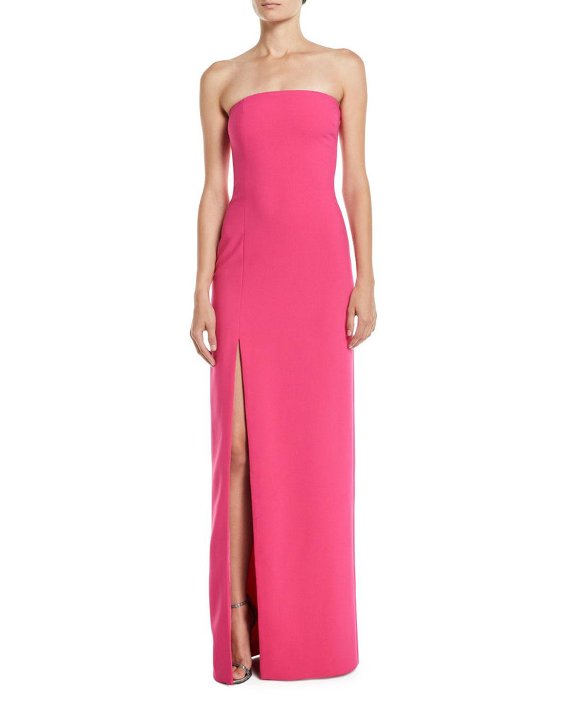 LIKELY Strapless Evening Gown with Side Slit. Robe de soirée sans bretelles fuchsia