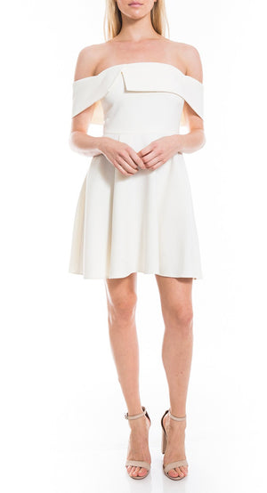 Ruffle Off the Shoulder Flare White Dress Robe blanche