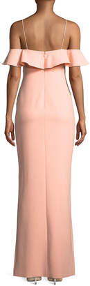 Likely Shania Ruffle Top Gown with Slit Peach
