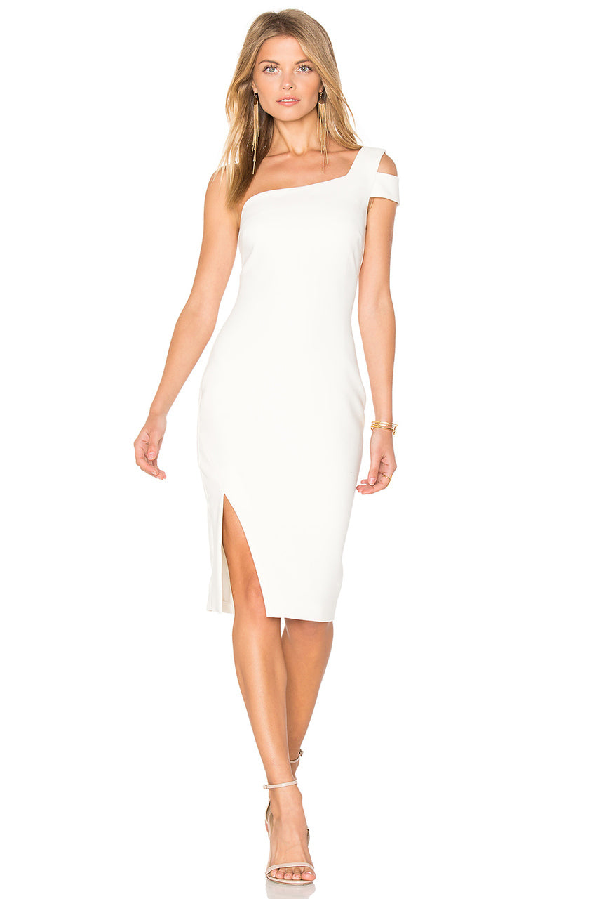 Asymmetrical White Fitted Dress. Robe blanche asymétrique mono-épaule