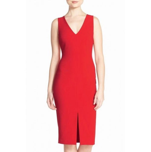 LIKELY Sleeveless Fitted Red Dress. Robe de bal slim, rouge