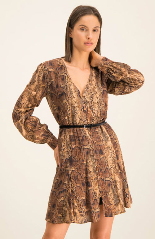 Lui Jo Animal Print V-Neck Tunic Dress with Gathered Bust