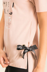 Liu Jo Pink Long T-Shirt with Black Ties on sides