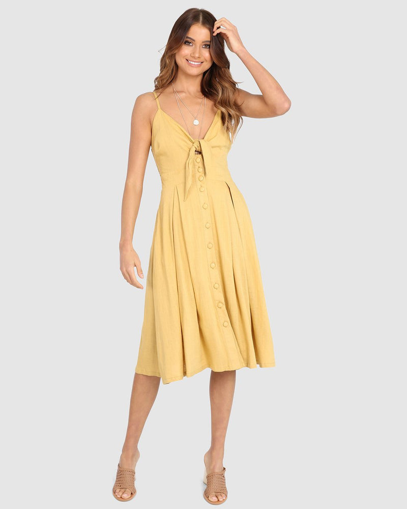 Mustard Dress Cotton Summer Style Lost in Lunar Samantha